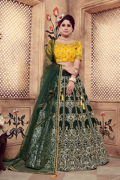 Dark Green Rubber Foil Work semi-stitched lehenga choli with dupatta.