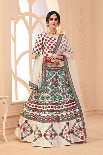 Beige Digital Printed Semi Stitched Lehenga Choli
