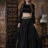 Black Color Semi Stitched Lehenga Choli Set With Waist Belt