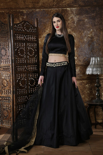 Black Color Semi Stitched Lehenga Choli Set With Waist Belt