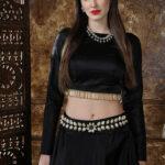 Black Color Semi Stitched Lehenga Choli Set With Waist Belt (1)