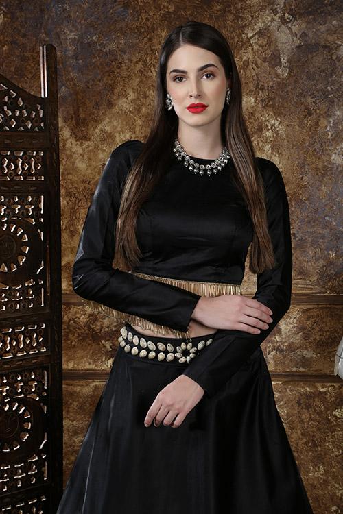 Black Color Semi Stitched Lehenga Choli Set With Waist Belt (5)