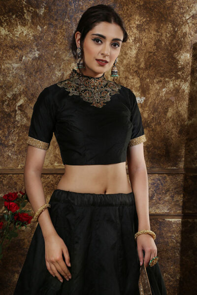 Black Multi Foil Exclusive Lehenga Choli With CAN-CAN Set