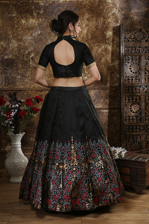 Black Multi Foil Exclusive Lehenga Choli With CAN-CAN Set (4)