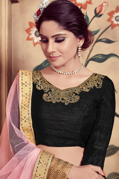 Black Multi Rubber Foil Work Semi Stitched Lehenga Choli