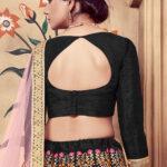 Black Multi Rubber Foil Work Semi Stitched Lehenga Choli (1)