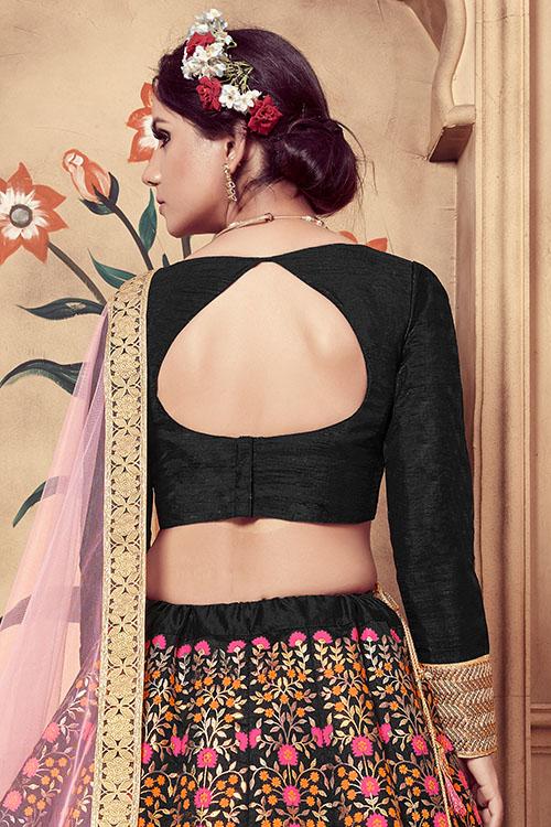 Black Multi Rubber Foil Work Semi Stitched Lehenga Choli (5)