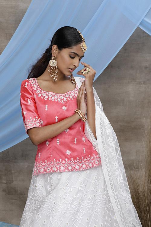 Contrast Color Embroidered Work Lehenga Choli (3)