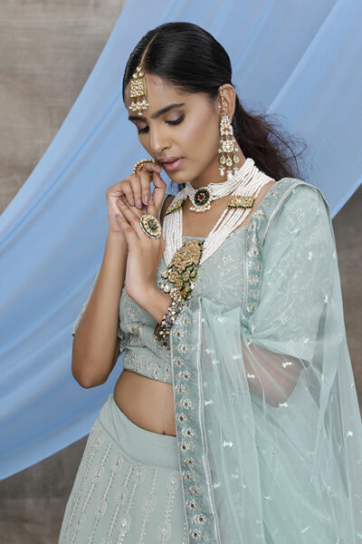 Dusty Green Georgette Exclusive Lehenga Choli Collection