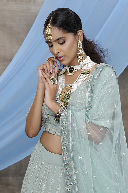Dusty Green Georgette Exclusive Lehenga Choli Collection (2)