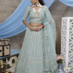 Dusty Green Georgette Exclusive Lehenga Choli Collection (1)