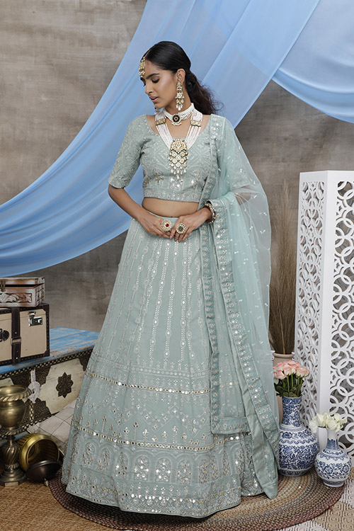 Dusty Green Georgette Exclusive Lehenga Choli Collection (3)