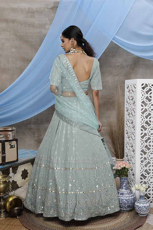 Dusty Green Georgette Exclusive Lehenga Choli Collection (4)
