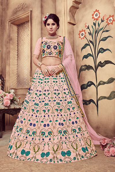 Dusty Pink Foil Printed Lehenga Choli With Dupatta