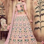 Dusty Pink Foil Printed Lehenga Choli With Dupatta (1)