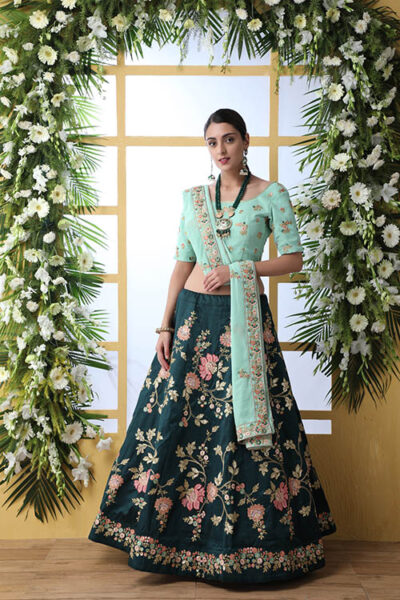 Exclusive Tradintional Look Designer Work Dark Green Lehenga Choli