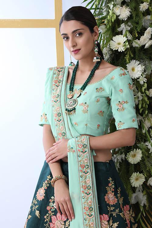 Exclusive Tradintional Look Designer Work Dark Green Lehenga Choli (2)
