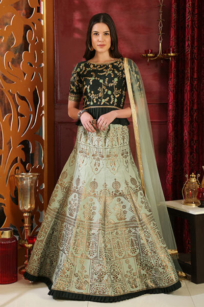 Green Metail Foil Printed Exclusive Lehenga Choli