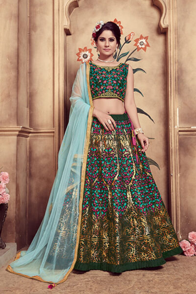 Green Rubber Foil Work Semi Stitched Lehenga Choli
