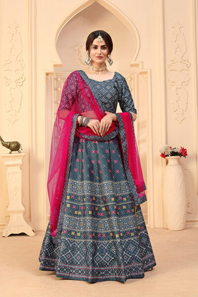Grey Designer Wear Digital Printed Lehenga Choli Collection