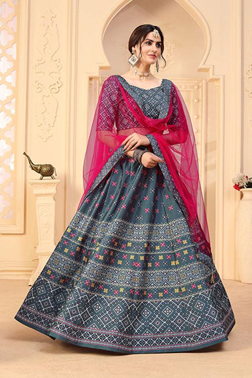 Grey Designer Wear Digital Printed Lehenga Choli Collection 3