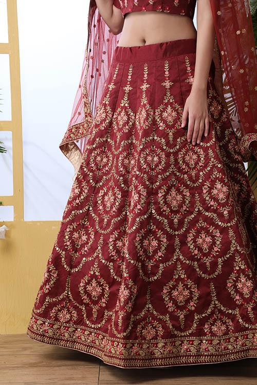 Maroon Color Semi Stitched Exclusive Lehenga Choli (4)