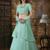 Mint Green Georgette Thread Embroidered Lehenga Choli