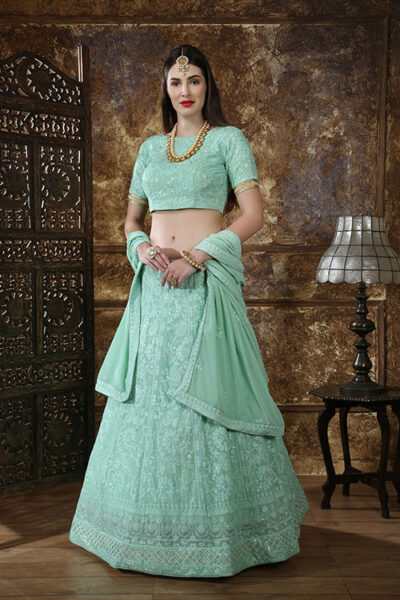 Mint Green Georgette Thread Embroidered Lehenga Choli