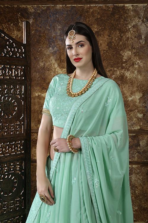 Mint Green Georgette Embroidered Lehenga Choli (2)