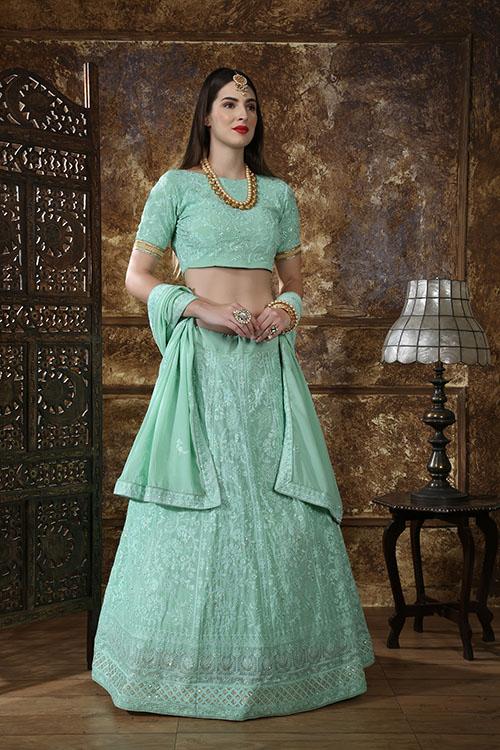 Mint Green Georgette Embroidered Lehenga Choli (3)