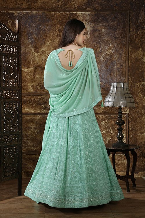 Mint Green Georgette Embroidered Lehenga Choli (4)