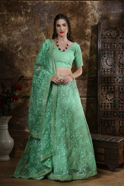 Mint Green Organza Embroidered Work Lehenga Choli Collection