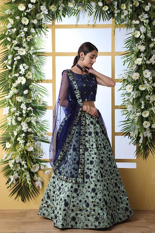 Mnit Green Sequnice Embroiered Lehenga Choli Collection (2)