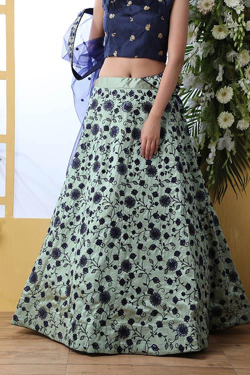 Mnit Green Sequnice Embroiered Lehenga Choli Collection (4)