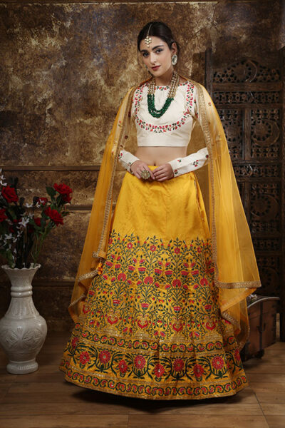 Mustered Yellow Embroidered Semi Stitched Lehenga Choli