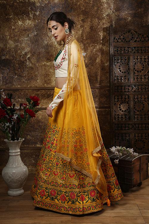 Mustered Yellow Embroidered Semi Stitched Lehenga Choli (3)