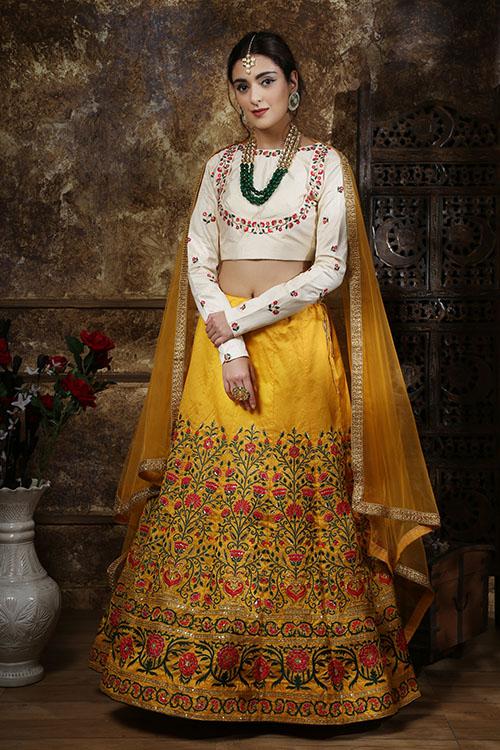 Mustered Yellow Embroidered Semi Stitched Lehenga Choli (4)