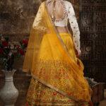 Mustered Yellow Embroidered Semi Stitched Lehenga Choli (1)
