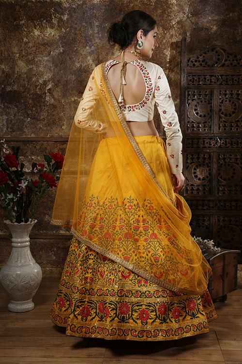 Mustered Yellow Embroidered Semi Stitched Lehenga Choli (5)