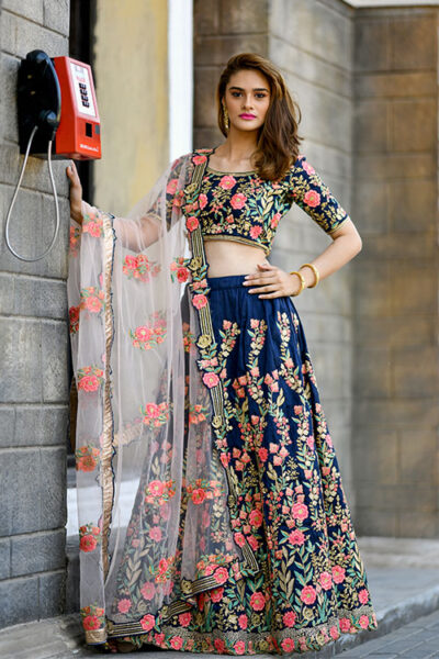 Navy Blue Embroidered Semi Stitched Lehenga Choli set with Dupatta