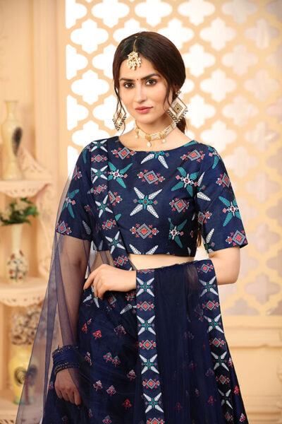 Navy Blue Exclusive Digital Printed Unstitched Lehenga Choli