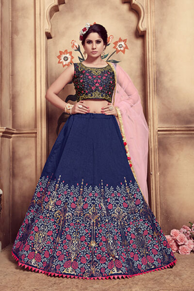 Navy Blue Foil Printed With Embroidered Work Lehenga Choli