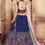 Navy Blue Foil Printed With Embroidered Work Lehenga Choli (1)