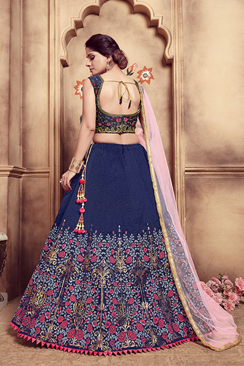 Navy Blue Foil Printed With Embroidered Work Lehenga Choli (3)