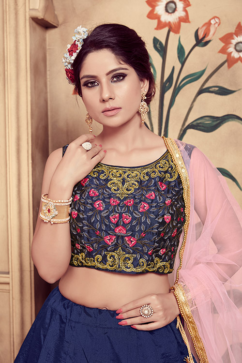 Navy Blue Foil Printed With Embroidered Work Lehenga Choli (4)
