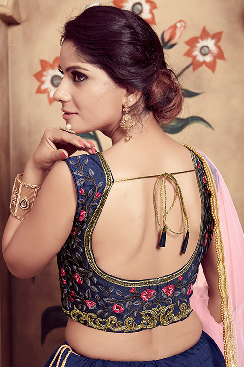 Navy Blue Foil Printed With Embroidered Work Lehenga Choli (5)