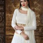 Off White Georgette Designer Embroidered Lehenga Choli (1)