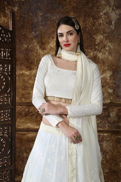 Off White Georgette Designer Embroidered Lehenga Choli