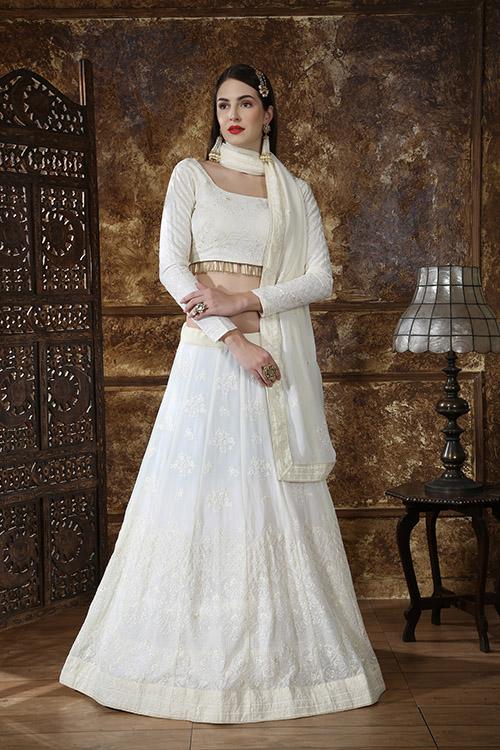Off White Georgette Designer Embroidered Lehenga Choli (3)