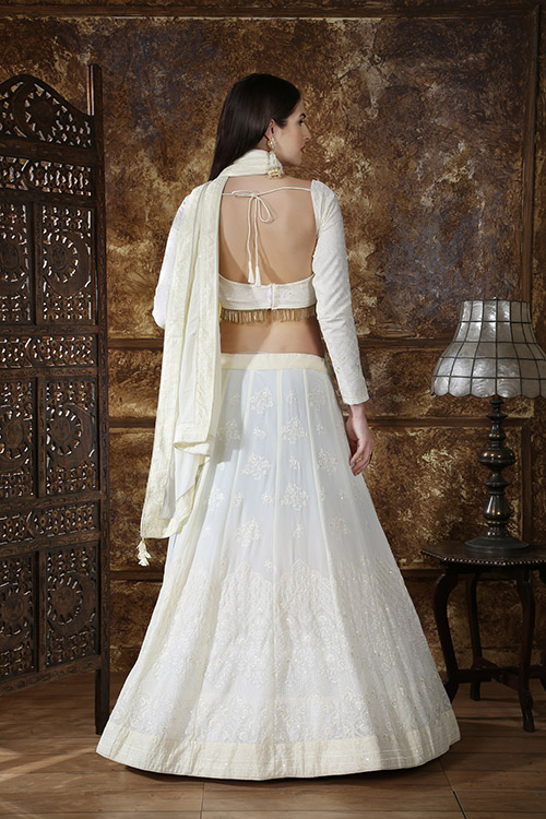 Off White Georgette Designer Embroidered Lehenga Choli (4)